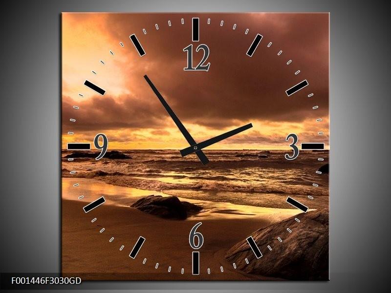 Wandklok op Glas Zee | Kleur: Bruin, Geel, Grijs | F001446CGD