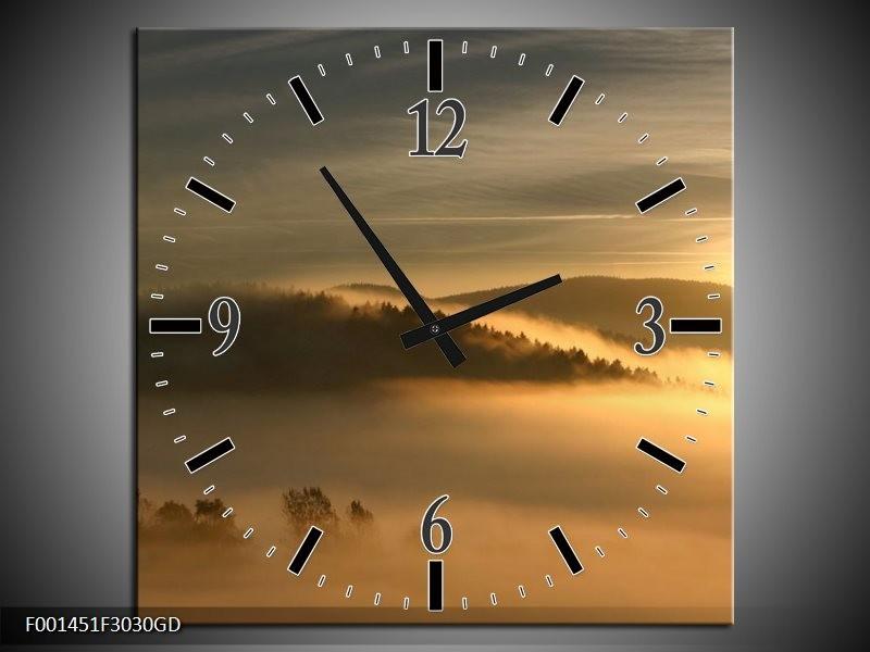 Wandklok op Glas Natuur   Kleur: Geel, Grijs   F001451CGD