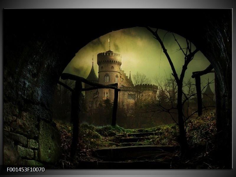 Foto canvas schilderij Kasteel | Groen, Zwart