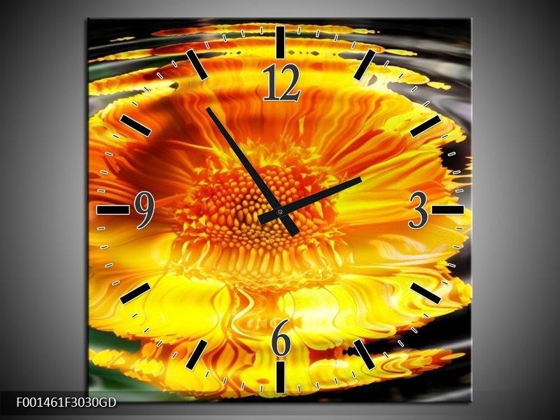 Wandklok op Glas Bloem | Kleur: Geel, Grijs, Oranje | F001461CGD