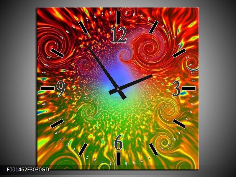 Wandklok op Glas Abstract | Kleur: Groen, Rood, Geel | F001462CGD