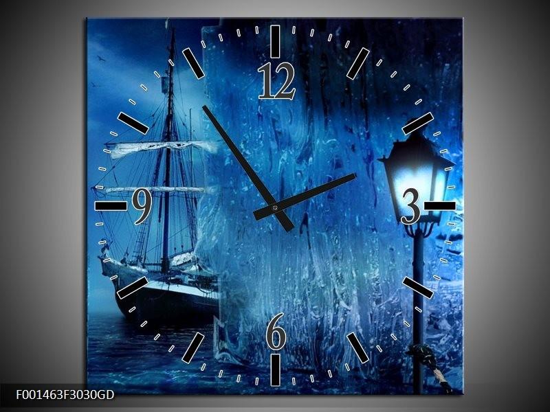 Wandklok op Glas Boot | Kleur: Blauw, Wit, Zwart | F001463CGD