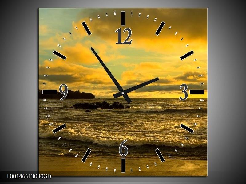Wandklok op Glas Zee | Kleur: Geel, Grijs | F001466CGD