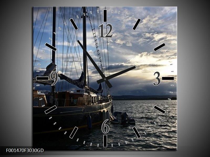 Wandklok op Glas Boot   Kleur: Wit, Blauw, Zwart   F001470CGD