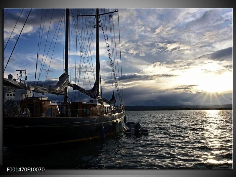 Glas schilderij Boot | Wit, Blauw, Zwart
