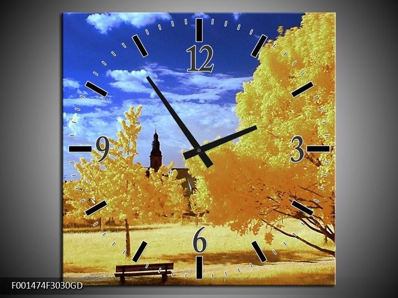 Wandklok op Glas Natuur | Kleur: Geel, Blauw, Wit | F001474CGD