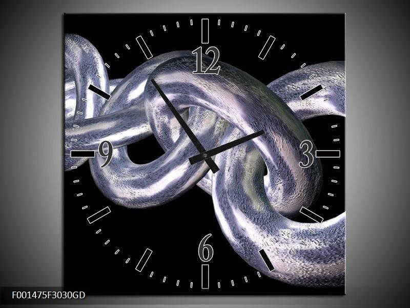 Wandklok op Glas Cirkels   Kleur: Grijs, Zilver, Zwart   F001475CGD