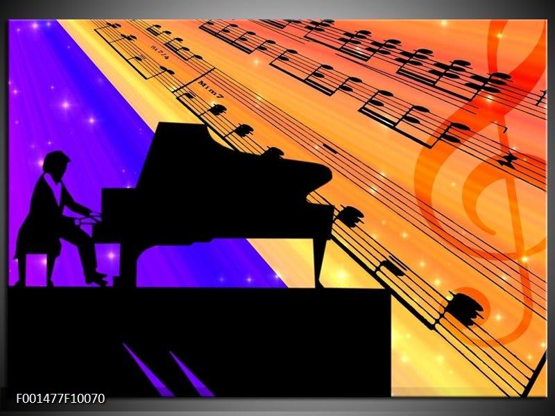 Glas schilderij Muziek | Zwart, Geel, Blauw
