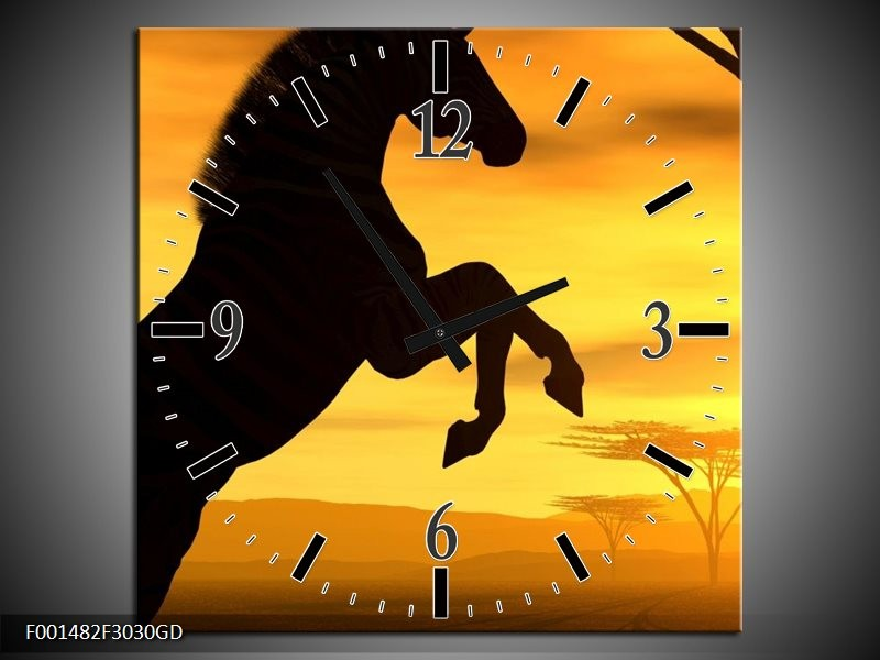 Wandklok op Glas Paard | Kleur: Zwart, Geel | F001482CGD