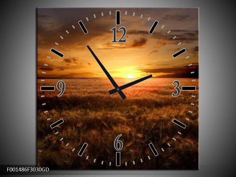 Wandklok op Glas Zonsondergang | Kleur: Geel, Zwart, Bruin | F001486CGD