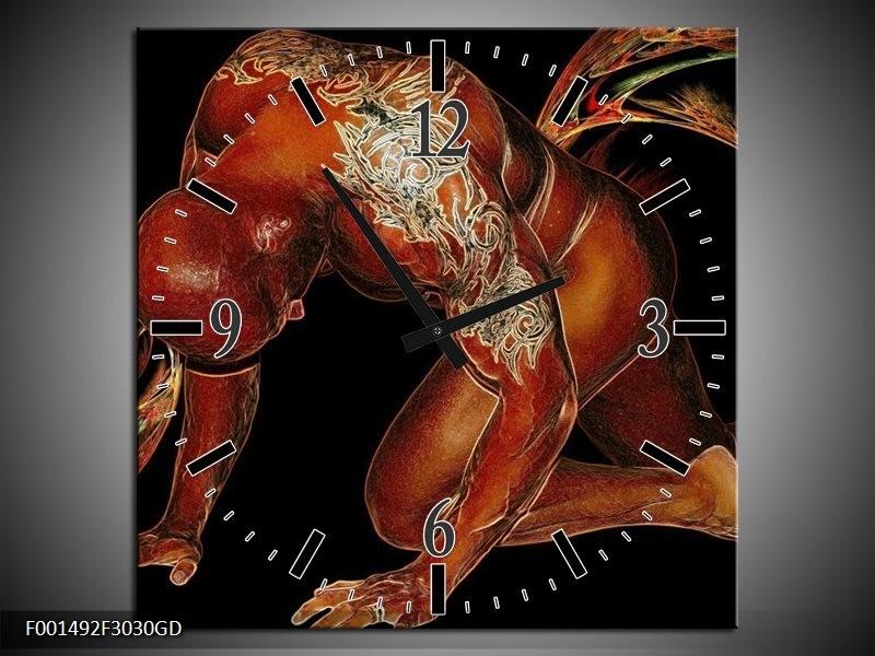 Wandklok op Glas Man | Kleur: Bruin, Zwart, Wit | F001492CGD