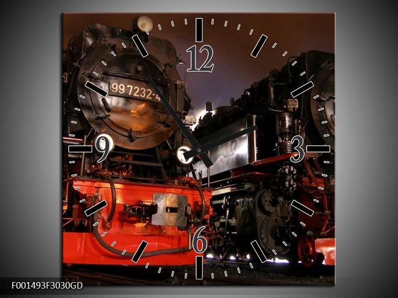 Wandklok op Glas Trein | Kleur: Rood, Zwart, Wit | F001493CGD