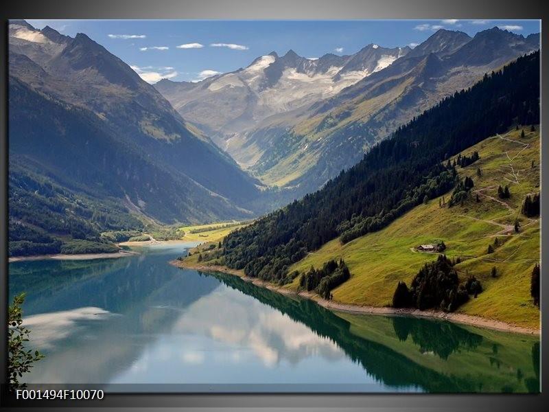 Glas schilderij natuur blauw groen wit groepart for Schilderij natuur