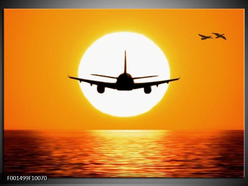 Foto canvas schilderij Vliegtuig | Geel, Oranje, Zwart