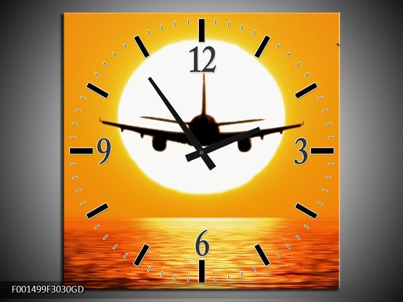 Wandklok op Glas Vliegtuig | Kleur: Geel, Oranje, Zwart | F001499CGD