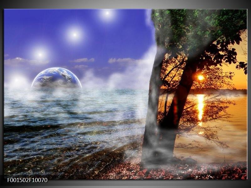 Glas schilderij Natuur | Blauw, Wit, Geel