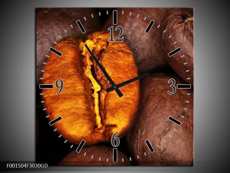 Wandklok op Glas Koffie   Kleur: Bruin, Oranje, Zwart   F001504CGD