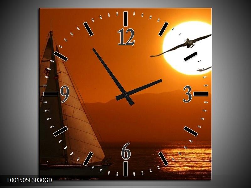 Wandklok op Glas Natuur | Kleur: Oranje, Geel, Zwart | F001505CGD
