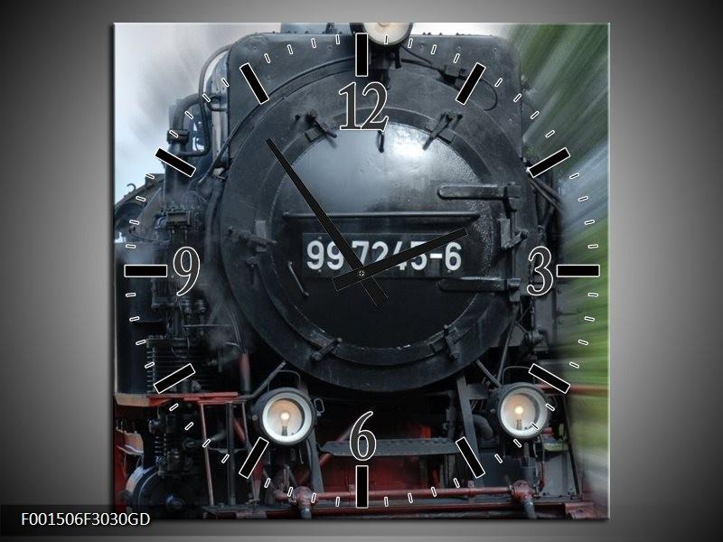 Wandklok op Glas Trein | Kleur: Zwart, Groen, Grijs | F001506CGD