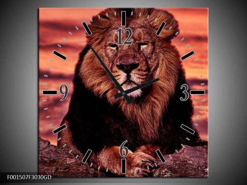 Wandklok op Glas Leeuw | Kleur: Paars, Bruin, Zwart | F001507CGD
