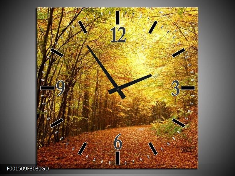 Wandklok op Glas Natuur   Kleur: Geel, Groen, Bruin   F001509CGD