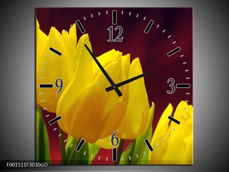 Wandklok op Glas Tulpen | Kleur: Geel, Bruin, Groen | F001511CGD