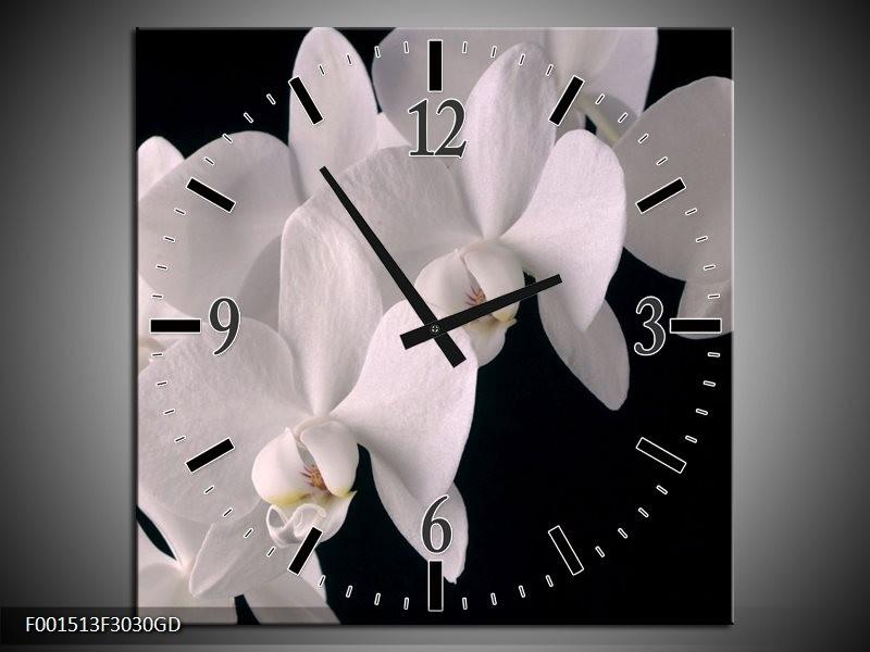 Wandklok op Glas Orchidee | Kleur: Wit, Zwart | F001513CGD