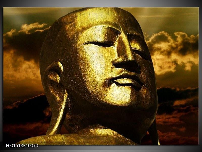 Glas schilderij Boeddha | Goud, Grijs, Zwart