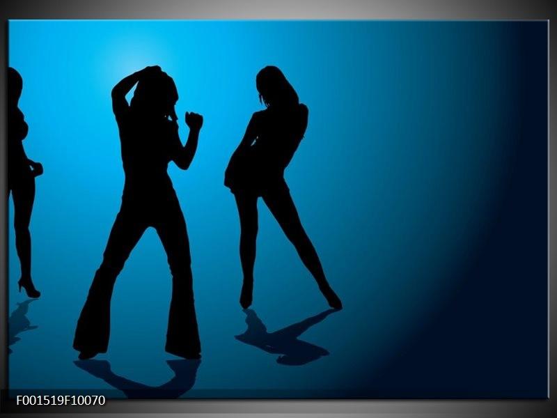 Glas schilderij Dansen   Blauw, Zwart