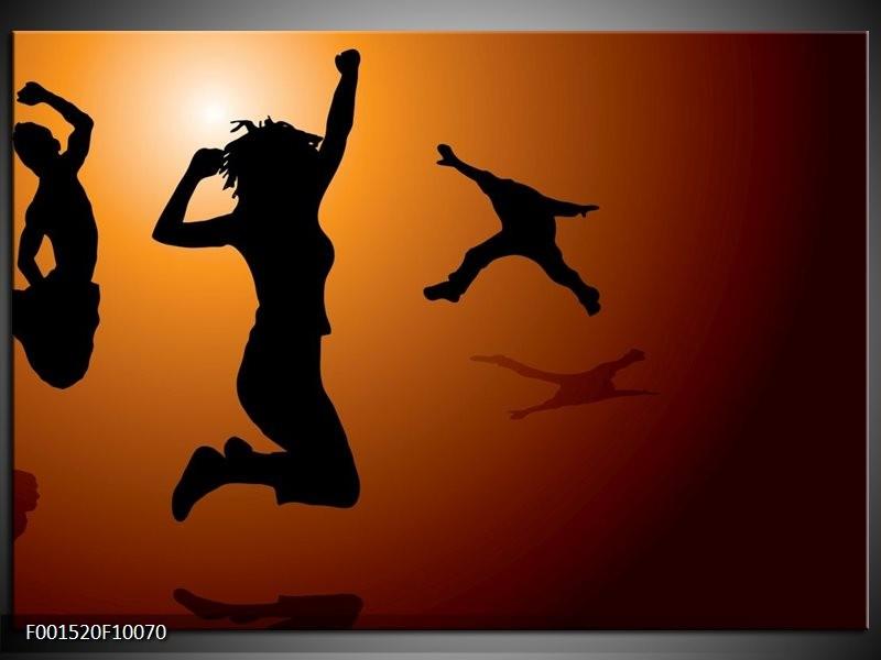 Glas schilderij Dansen | Bruin, Zwart, Geel