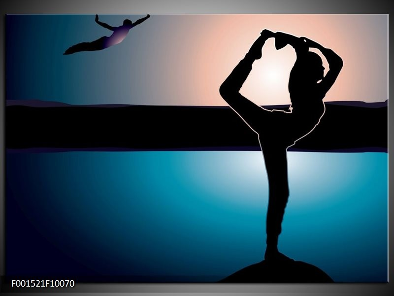 Glas schilderij Dansen | Blauw, Zwart, Wit