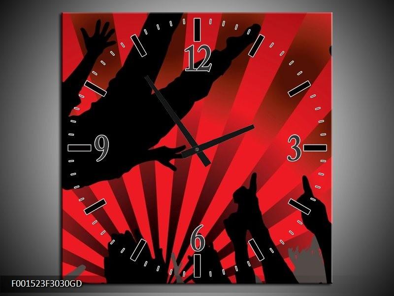 Wandklok op Glas Muziek | Kleur: Rood, Zwart | F001523CGD