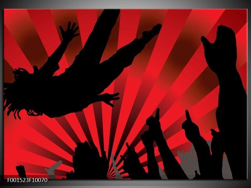 Glas schilderij Muziek | Rood, Zwart