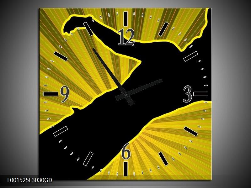 Wandklok op Glas Dansen | Kleur: Geel, Zwart | F001525CGD