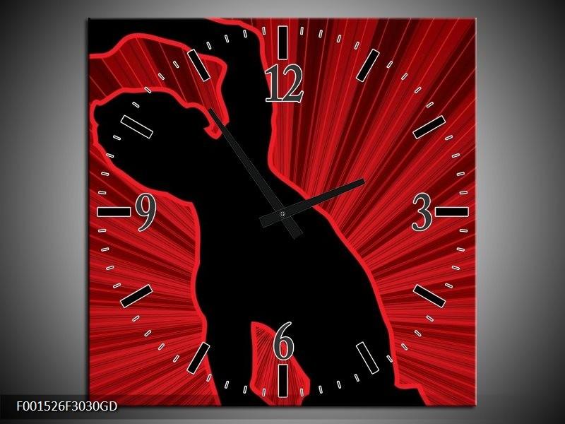 Wandklok op Glas Dansen | Kleur: Rood, Zwart, | F001526CGD