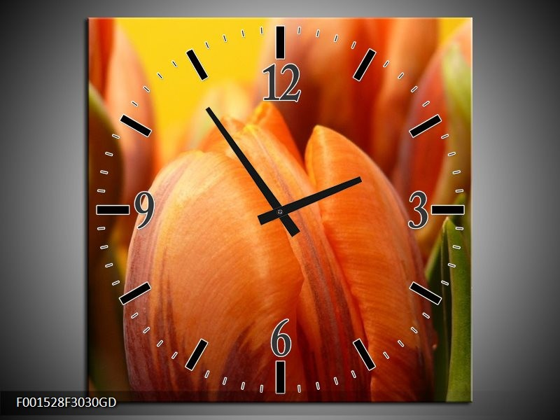 Wandklok op Glas Tulpen | Kleur: Groen, Oranje, Geel | F001528CGD
