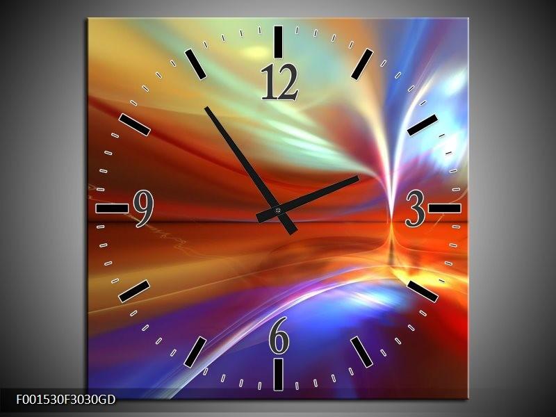 Wandklok op Glas Abstract   Kleur: Paars, Geel, Rood   F001530CGD
