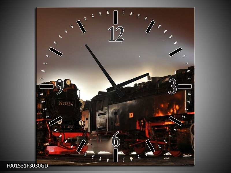 Wandklok op Glas Treinen | Kleur: Zwart, Rood, Grijs | F001531CGD