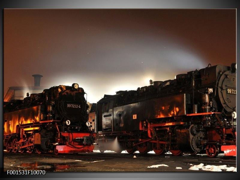 Glas schilderij Treinen | Zwart, Rood, Grijs