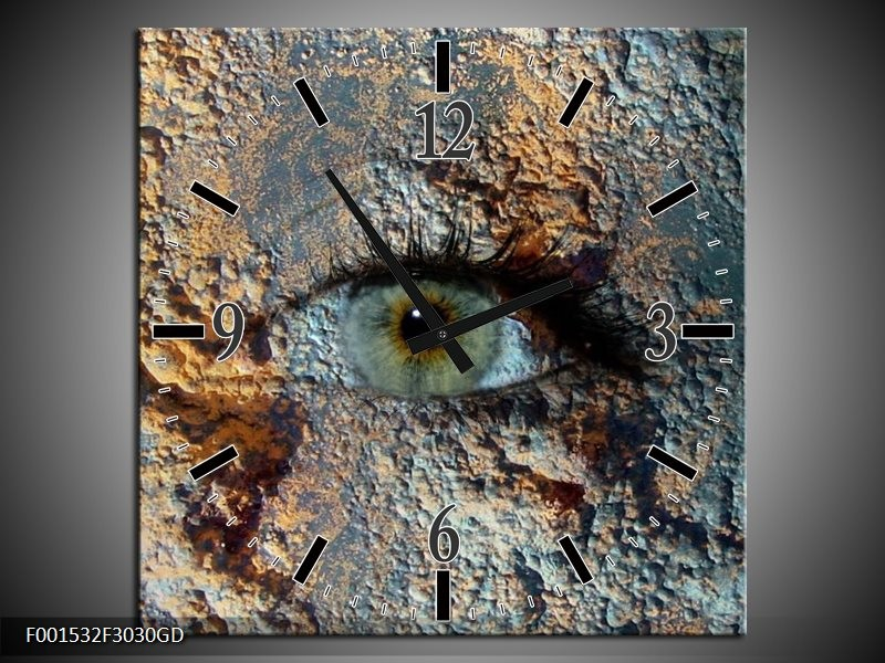 Wandklok op Glas Oog   Kleur: Grijs, Geel   F001532CGD