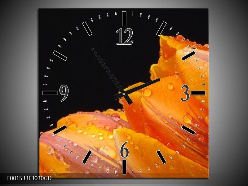 Wandklok op Glas Tulp | Kleur: Geel, Oranje, Zwart | F001533CGD