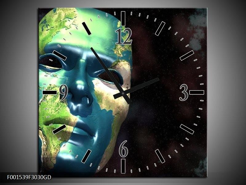 Wandklok op Glas Masker   Kleur: Groen, Blauw, Zwart   F001539CGD