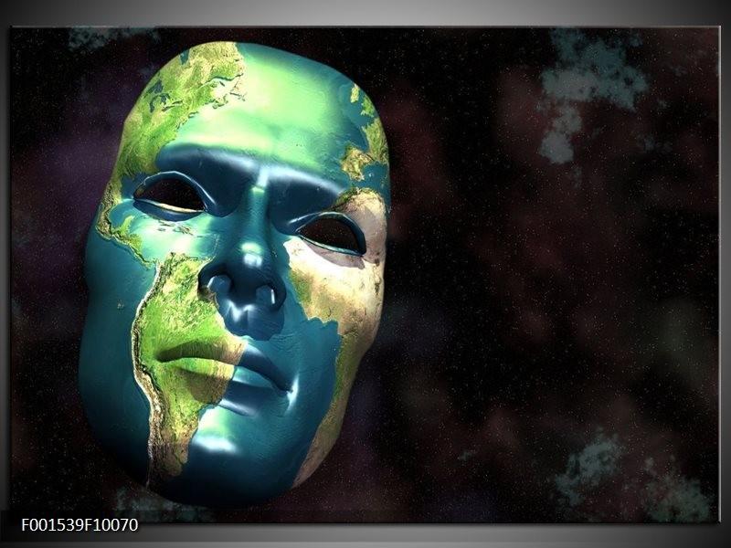 Glas schilderij Masker | Groen, Blauw, Zwart