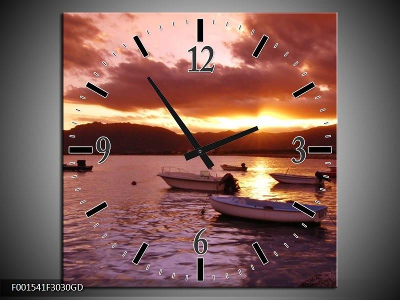 Wandklok op Glas Zonsondergang | Kleur: Geel, Paars | F001541CGD