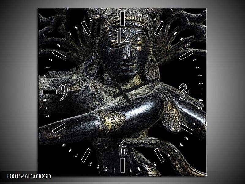 Wandklok op Glas Religie | Kleur: Grijs, Zwart, Zilver | F001546CGD