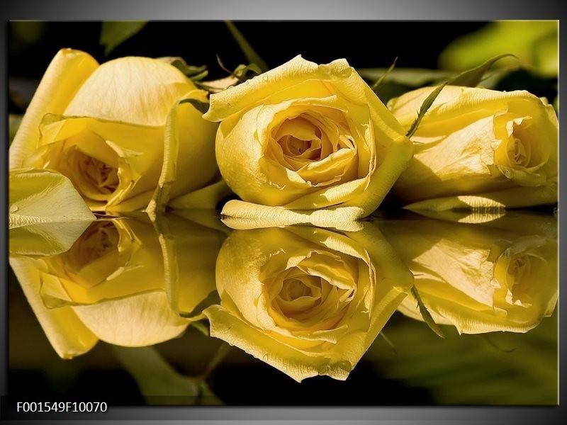 Glas schilderij Roos | Geel, Grijs