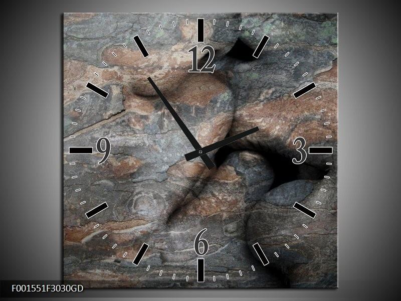 Wandklok op Glas Stenen   Kleur: Grijs, Bruin   F001551CGD