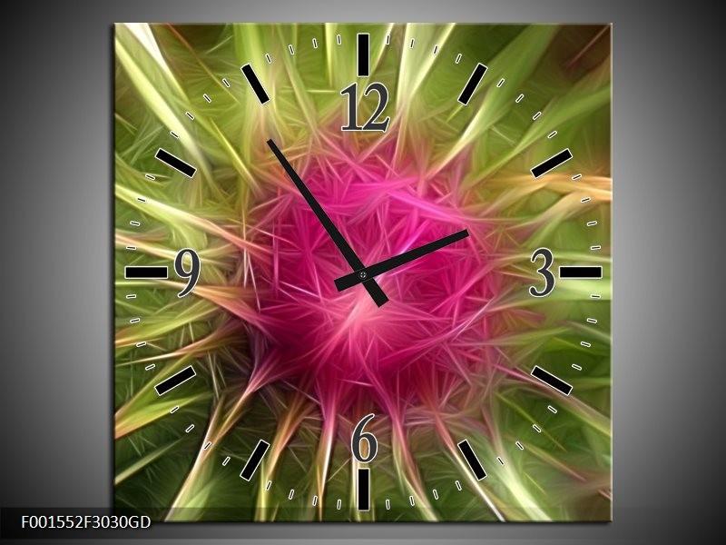 Wandklok op Glas Abstract | Kleur: Paars, Groen, Wit | F001552CGD