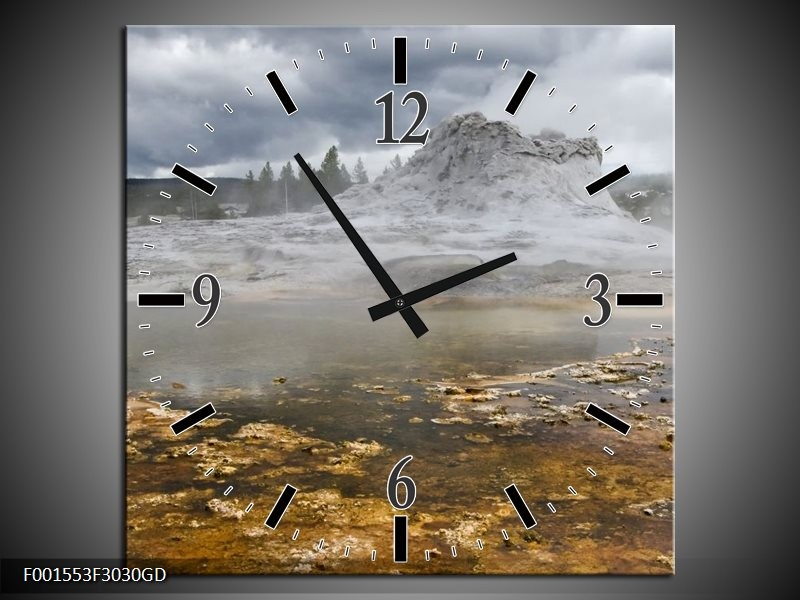 Wandklok op Glas Natuur | Kleur: Grijs, Wit, Bruin | F001553CGD