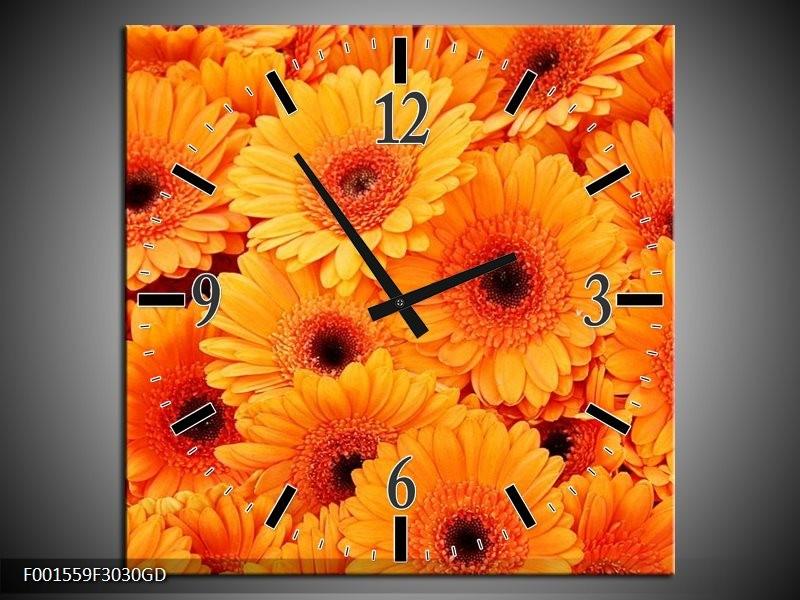 Wandklok op Glas Bloemen | Kleur: Oranje, Zwart | F001559CGD